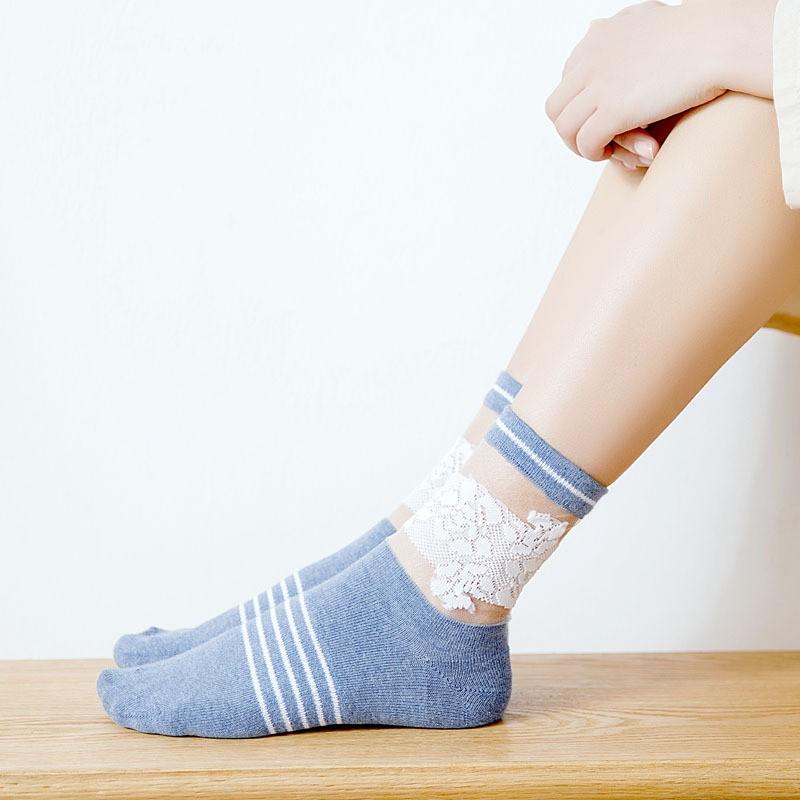 短襪日系金銀絲中筒襪 拼色復古鏤空堆堆襪