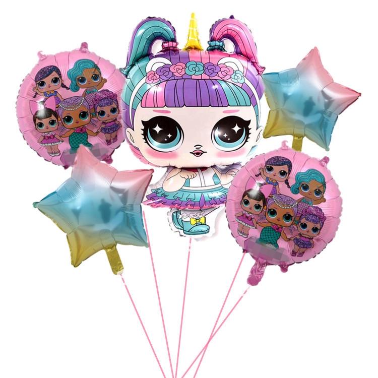 LOL SURPRISE 5 件 / 套卡通 Lol 驚喜娃娃鋁箔氣球生日氣球派對裝飾套裝