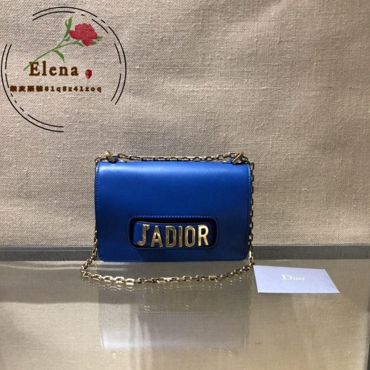 【Elena二手包館】Dior jadior 鏈條包 迪奧藍色牛皮復古金扣鏈條包單肩斜挎包