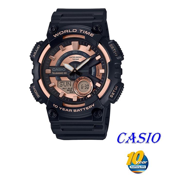 CASIO卡西歐指針與數字雙結合的設計,AEQ-110W運動錶款 AEQ-110W-1A3 AEQ-200W黑X玫瑰金