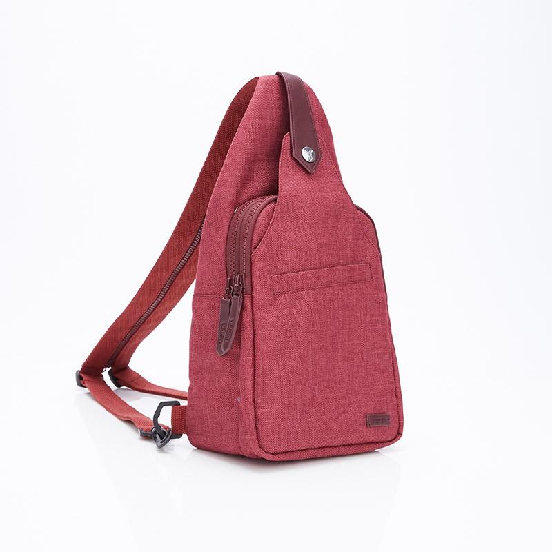 多口袋斜背包 / 楓葉紅 / 設計感多功能斜背包