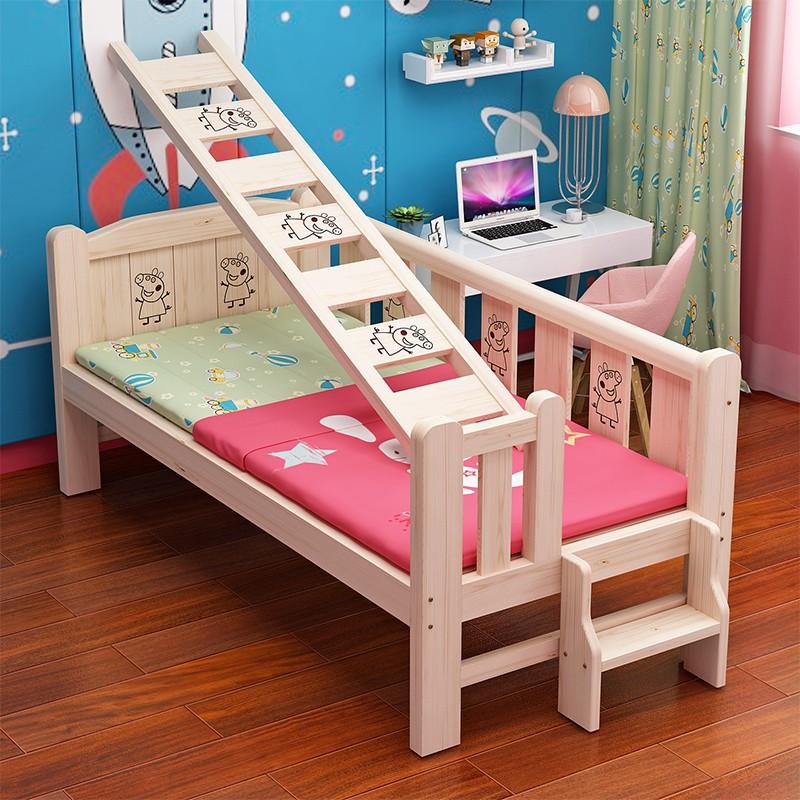 實木兒童床單人床帶護欄男孩女孩公主加寬床邊大床拼接小床ikea 嬰兒床