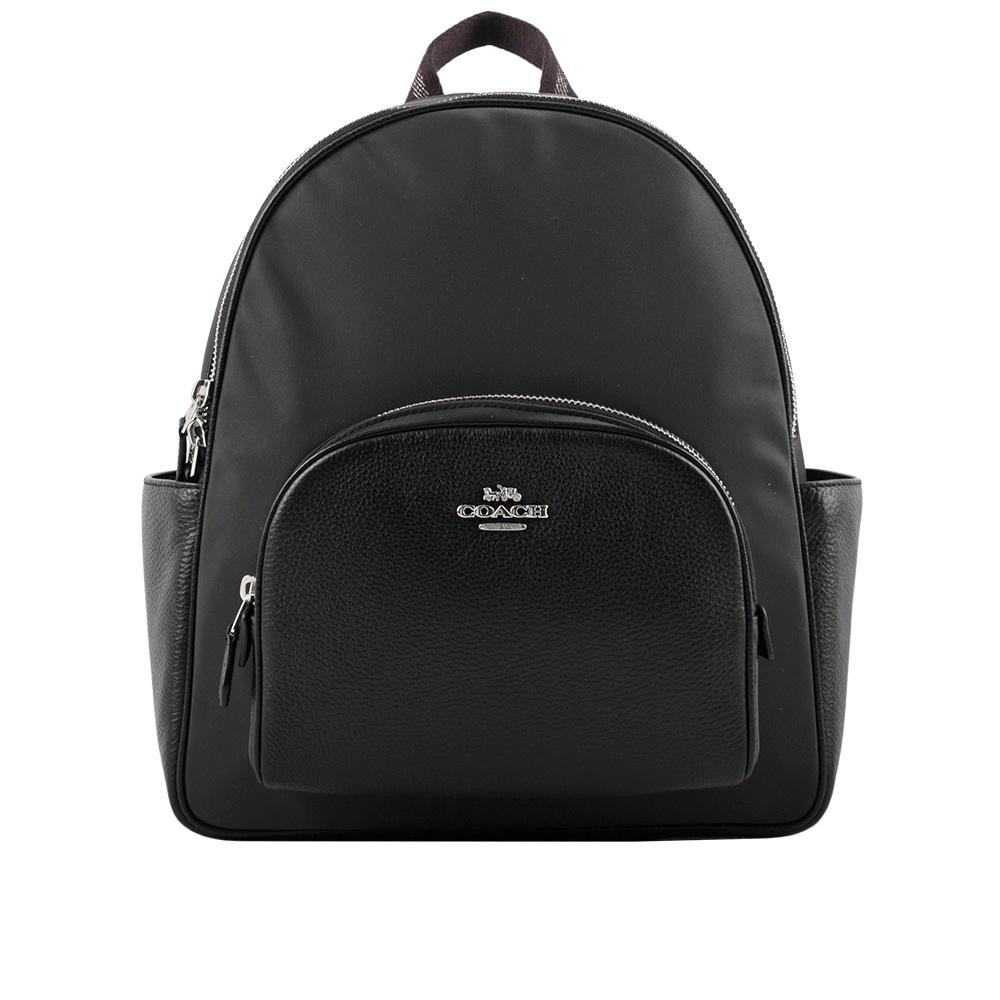 COACH Court 尼龍拼荔枝皮革口袋後背包(黑色) C4654 SV/BK