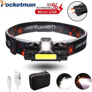 3000LM XPE + COB LED前大燈USB可充電2模式头燈帶磁鐵