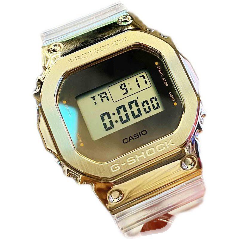卡西歐白敬亭手錶男限量新款制勝冰川金透明錶帶GM-110/5600SG-9A
