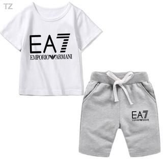 Armani EA7兒童套裝 兒童兩件套 休閒運動服 EA7童裝 上衣 圓領T恤 抽繩短褲 男童套裝 女童套裝 親子裝