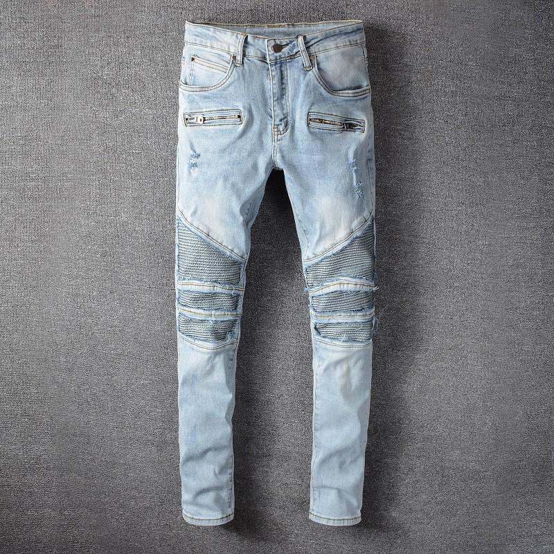 Balmain 巴爾曼淺色膝蓋破壞補丁牛仔褲男青年彈力修身機車褲 1090