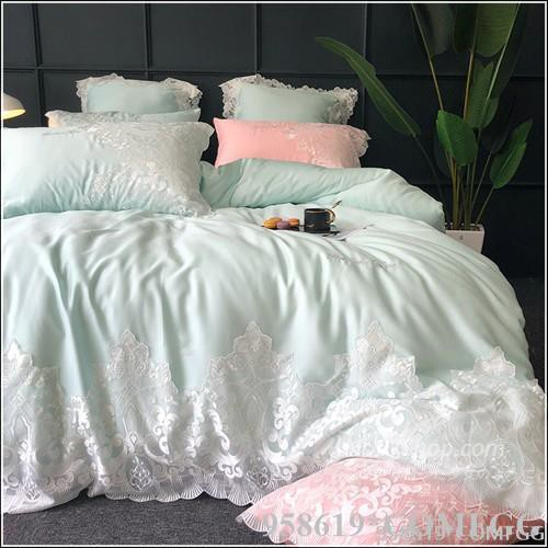 喵~北歐風公主羅莉塔白粉綠色60支天絲滑感長絨棉拼接蕾絲花邊枕頭+被套+雙人標準&加大寢具四件組-床包款