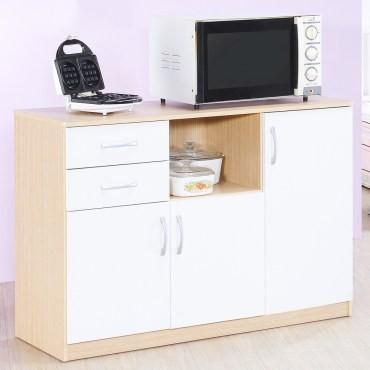 8.5折節日大特惠【Hopma】三門二抽廚房櫃/收納櫃-白橡配白