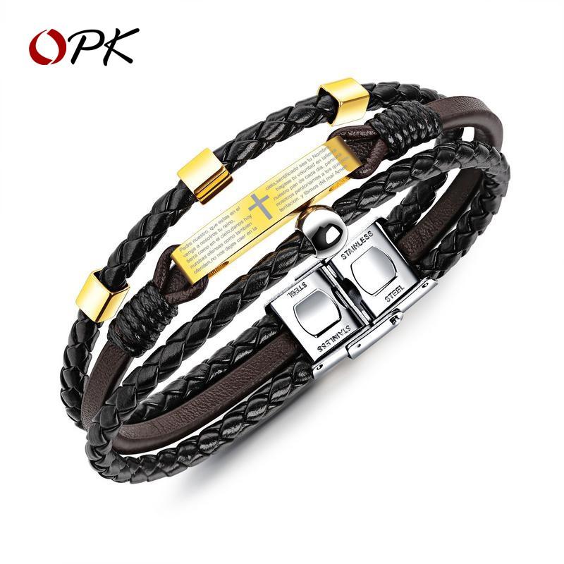 潮男士圣經十字架手鏈單身簡約大方手鐲時尚個性手環首配飾手繩