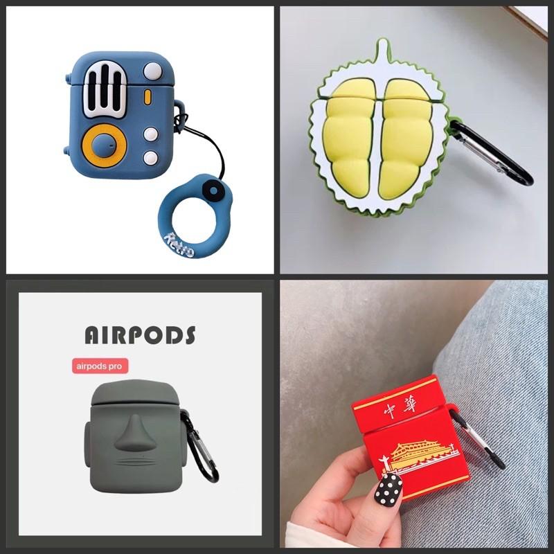 現貨 AirPods Pro&1/2代 保護套錄音機 榴蓮 艾摩 中華煙盒石像人艾摩照型