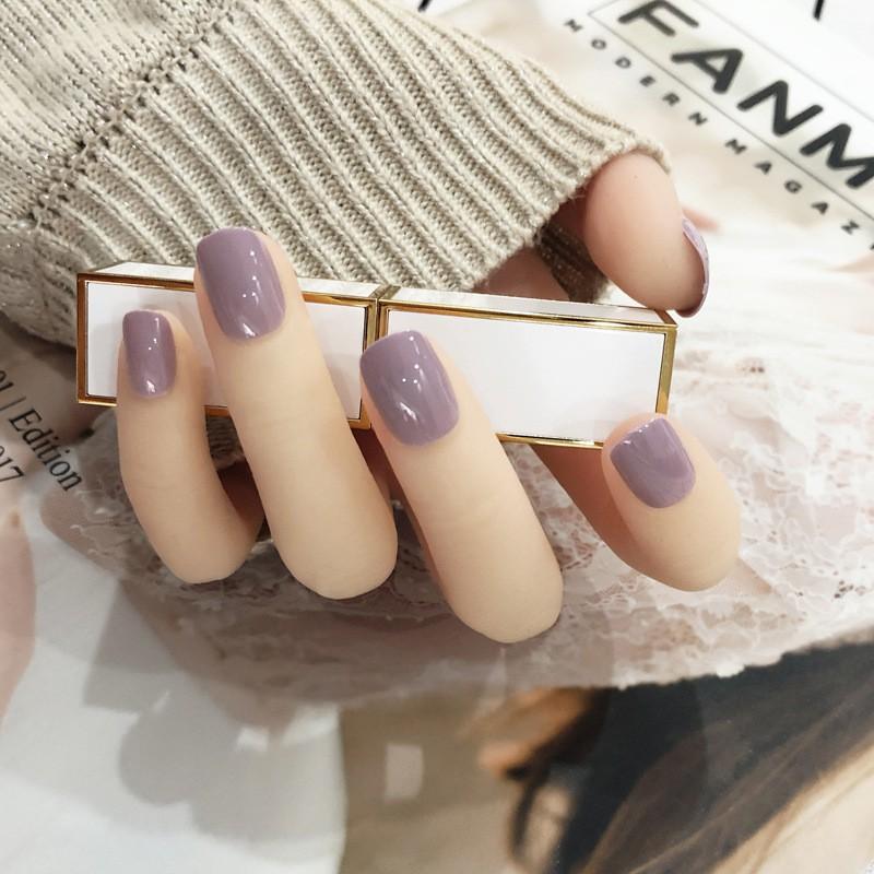 指甲貼片 一撕即貼 粉紫丁香 秒貼甲片 純色 指甲貼片 穿戴式 可重複使用【買1送5配件】