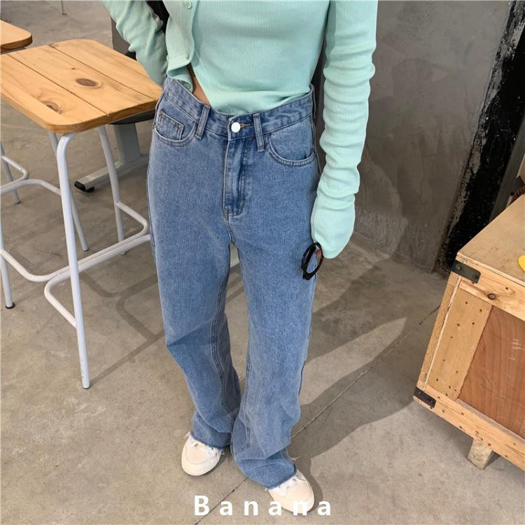Lisa同款牛仔褲 韓版寬鬆 腳口開衩闊腳褲 韓國ins顯瘦褲子 休閒直筒褲 學生高腰長褲 復古百搭banana線上商店