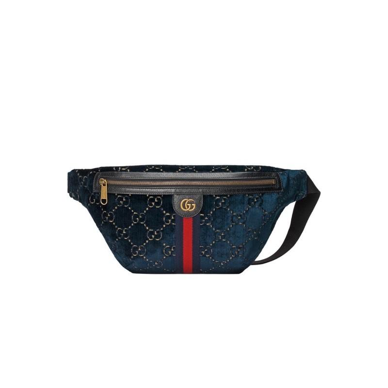 正品| Gucci 深藍滿版GG 藍色絲絨腰包