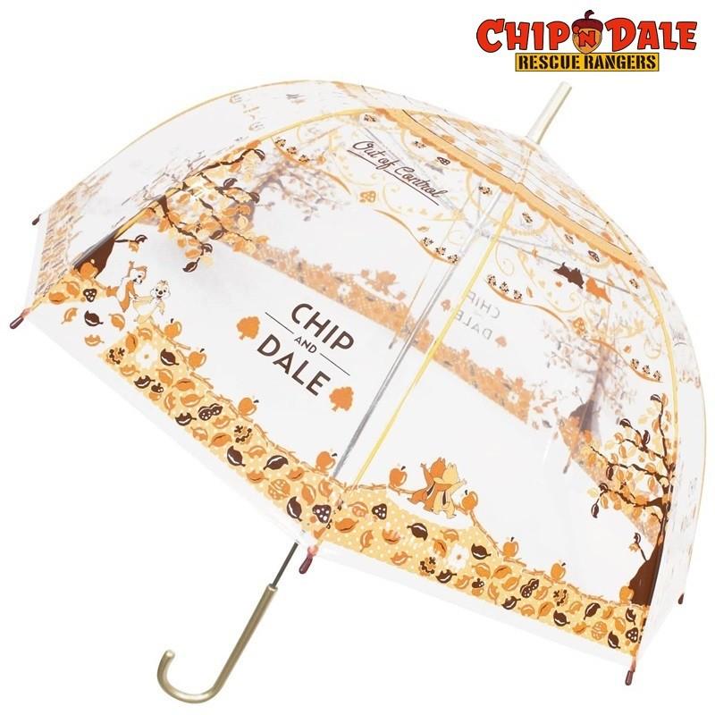 迪士尼 奇奇蒂蒂【 TW SAS日本限定 】落葉透明版 雨傘 / 直立傘