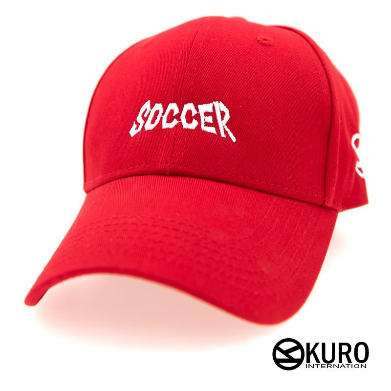 KURO-SHOP紅色SOCCER老帽 棒球帽 布帽(可客製化電繡)