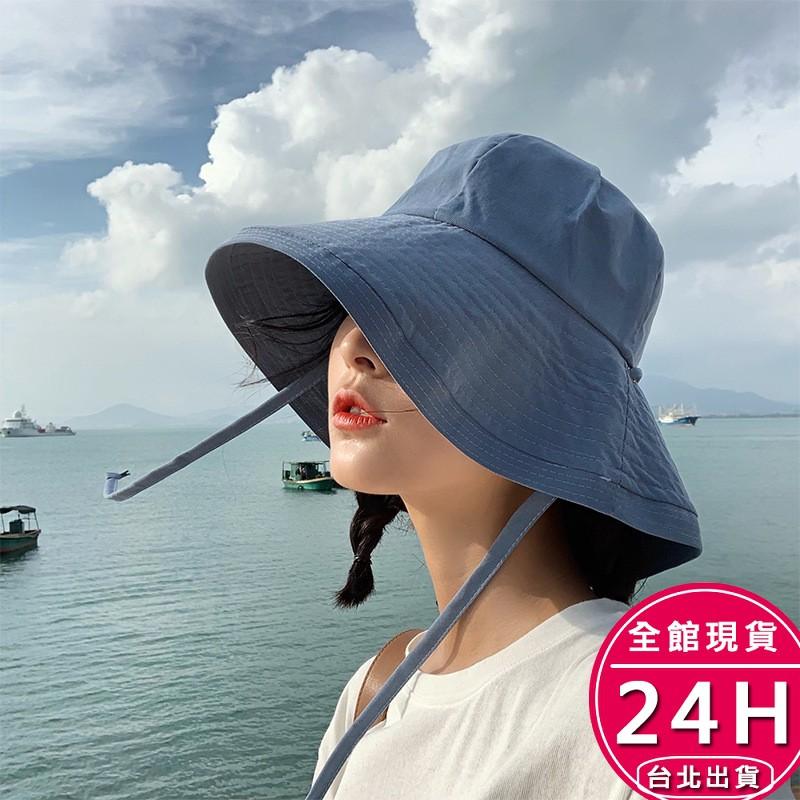 【現貨24H】漁夫帽遮陽帽沙灘帽 - 韓版手工可折疊頭圍可調女生沙灘度假綁帶防曬帽海邊圓帽布帽 - 附防風繩梨卡M186