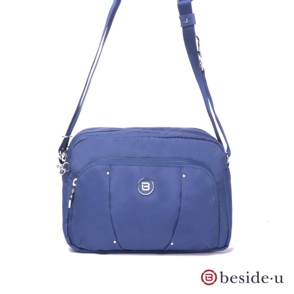 beside u BLL 防盜刷金屬裝飾旅行斜肩包側背包 – 藍色 官方直營