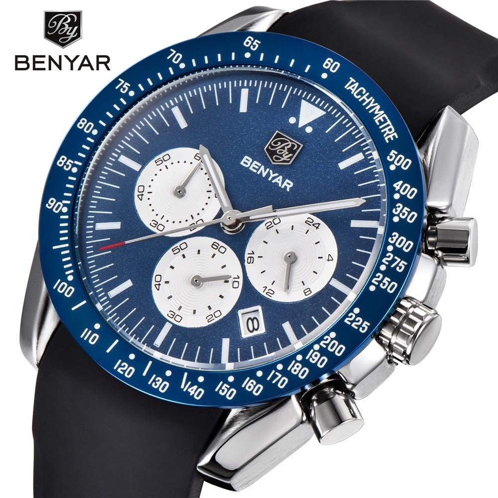 Benyar石英男錶矽膠錶帶男士Run Chronograp手錶