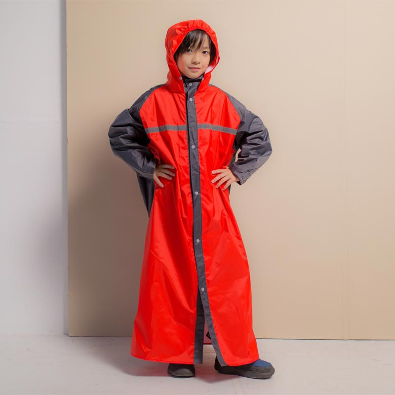 Brightday藏衫背包兒童前開連身式風雨衣-紅/灰