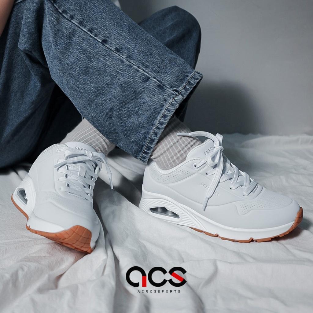 Skechers 休閒鞋 Uno 寬楦 女 全白 小白鞋 穿搭 皮革 氣墊 厚底 運動鞋 【ACS】 73690WWHT