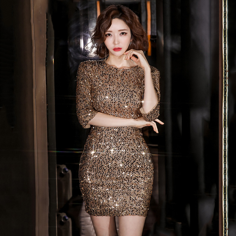 GUYU古瑜閃亮亮珠片夜店洋裝酒會短版禮服七分袖合身顯身材包臀連衣裙
