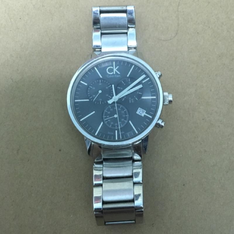 CK 三眼簍空計時腕錶