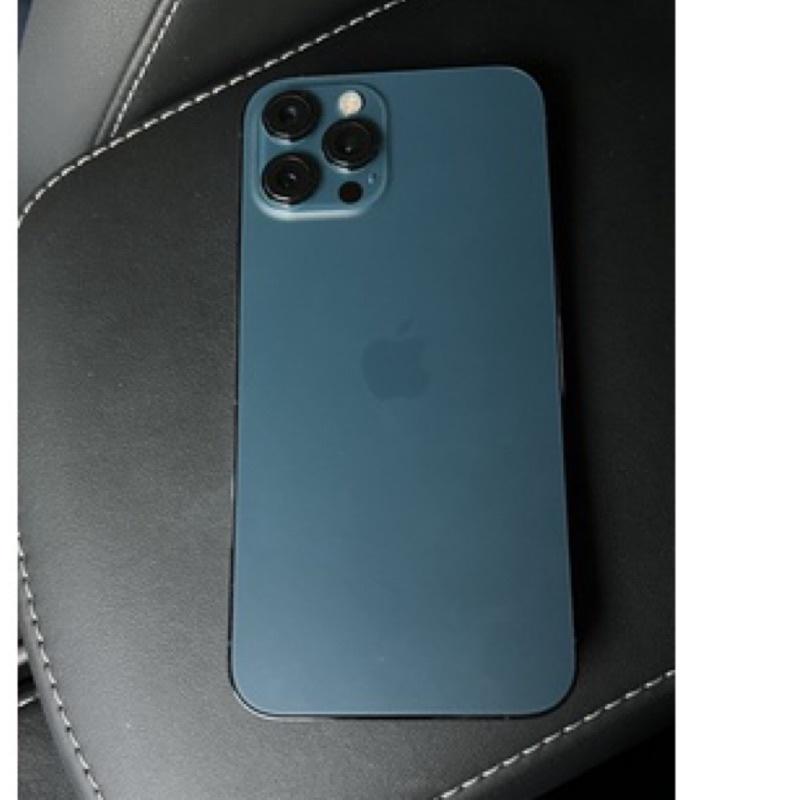 蘋果 女用機 二手iPhone 12 PRO MAX 128G 台中自取 太平洋藍 手機 智慧型手機 盒子 防摔手機殼