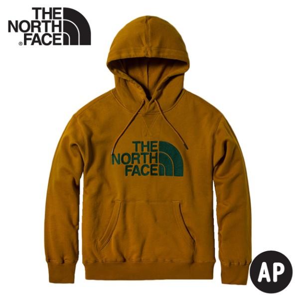 【The North Face 中性 LOGO連身帽T恤《黃褐/綠》】4NEQ/保暖休閒大學T/連帽上衣/休閒長袖