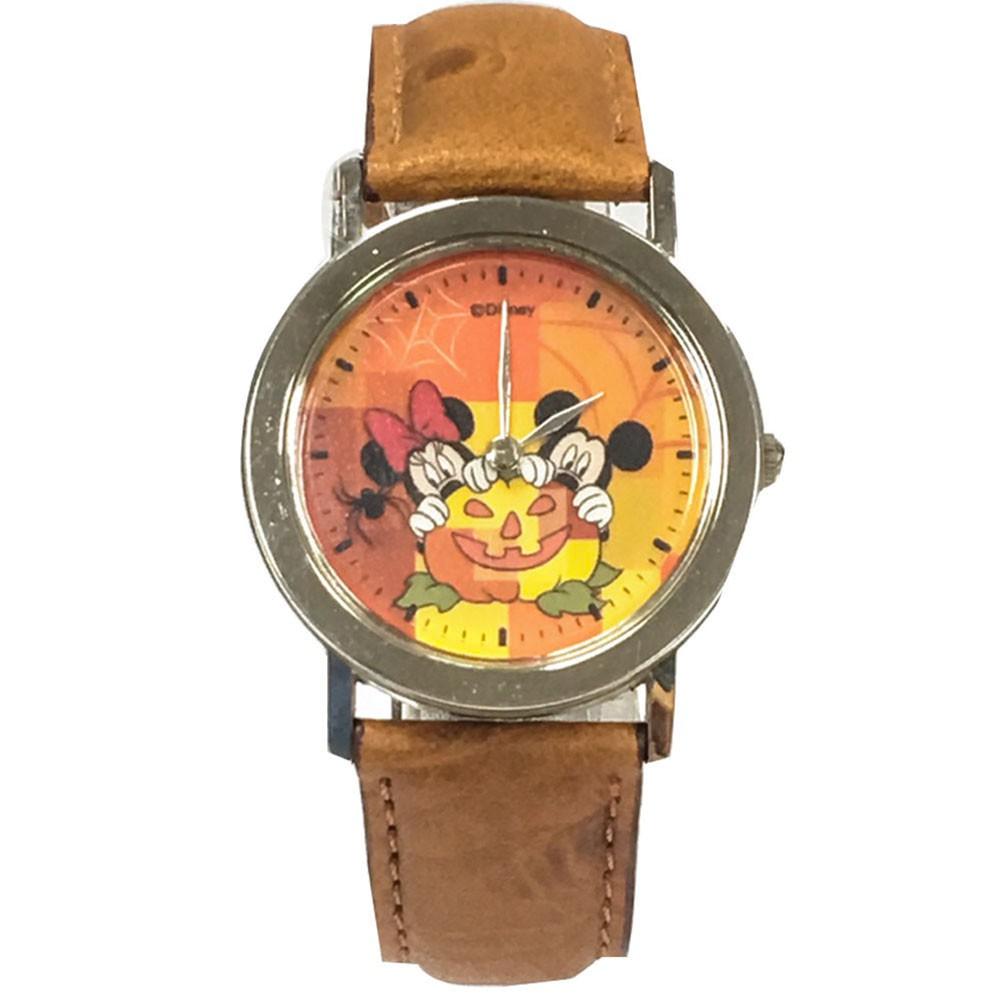 【迪士尼】米奇米妮驚嚇笑靨_皮帶手錶(棕)