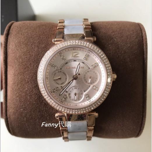 Michael Kors 石英手錶 三眼計時腕錶 MK6327 MK女錶 時尚鑲鑽間膠手錶 玫瑰金拼粉紫