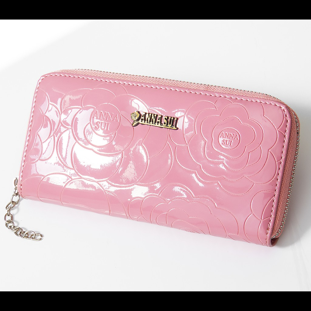 美國時尚品牌ANNA SUI 安娜蘇粉色亮皮花朵長夾 錢包