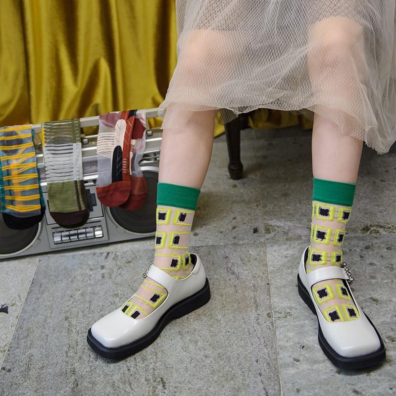 大唐襪業 D418夏季新款玻璃絲襪中筒可愛長襪卡絲襪水晶絲襪子薄隱形襪女