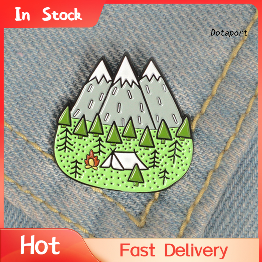 Dt-Cartoon Camp Mountain 搪瓷領翻領胸針別針衣服圍巾飾品