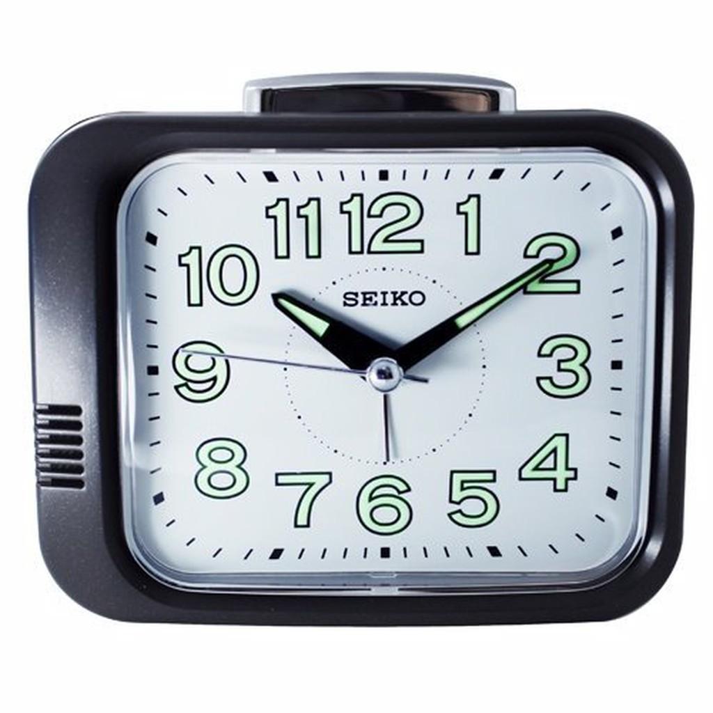 日本精工-SEIKO QHK028方型夜光響鈴鬧鐘 大聲公 靜音式秒針  鬧鐘--黑框白面