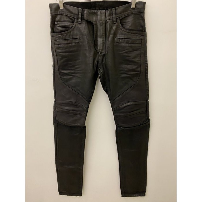 全新真品 BALMAIN 高階款 拼接 羊皮 上膠 黑色 騎士風 牛仔褲 30 可刷卡
