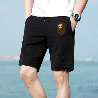 BAPE (SizeM-8XL)夏季男士女士短褲寬鬆休閒運動外穿五分褲潮流潮牌冰絲透氣沙灘短褲