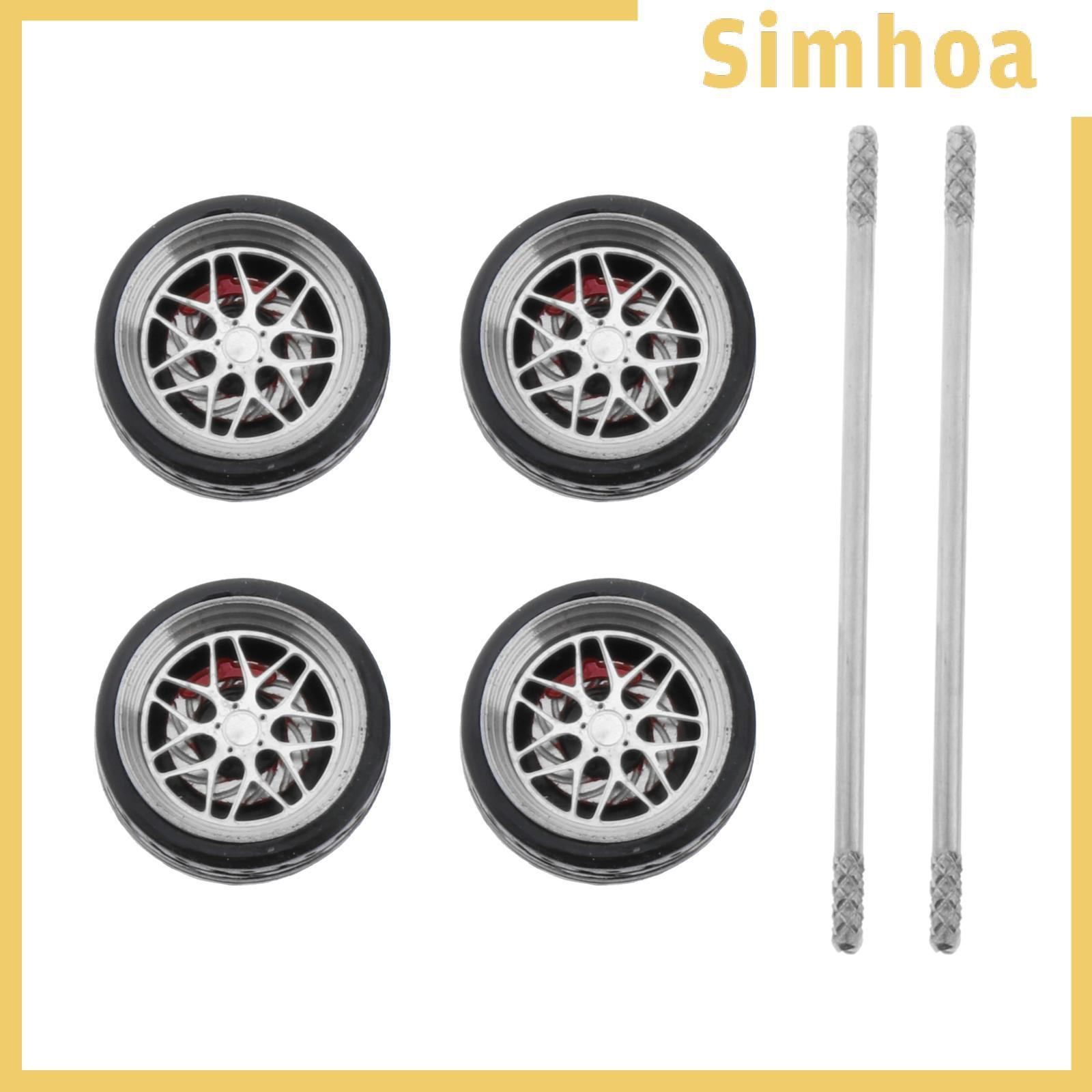 [SIMHOA] 4個/套1/64道路模型汽車車輪和輪胎備件熱輪
