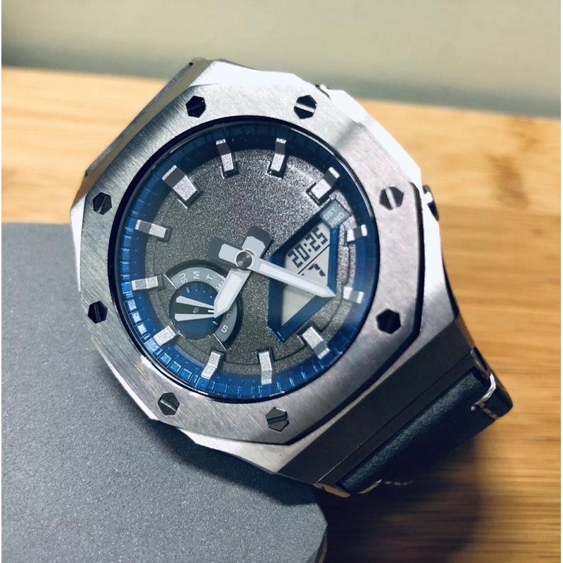 G-SHOCK GA-2100 水泥灰改裝二代銀底鈦灰色框錶殼+灰色皮錶帶、藍寶石防刮鏡面