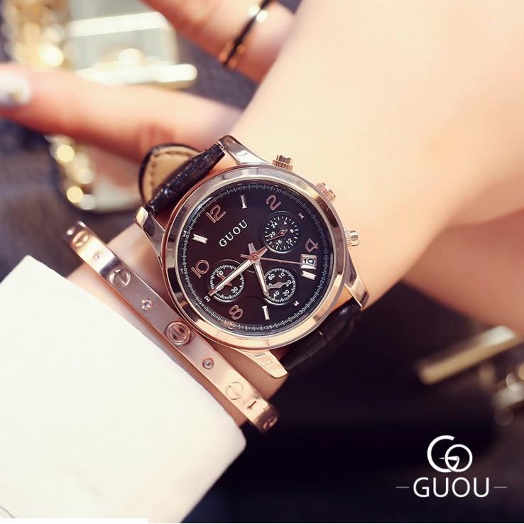【現貨免運】GUOU 精美時尚三眼計時 女生手錶 女錶 女錶  (非 jojo casio 卡西歐 )`