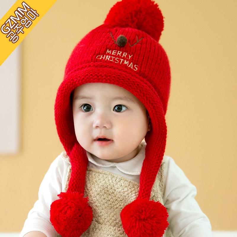 嬰兒帽子秋冬季寶寶毛線帽6-12個月小孩帽1-3歲男女童加絨護耳帽發飾帽女寶寶嬰童春秋韓版嬰幼兒安全帽秋冬天配飾女童外出