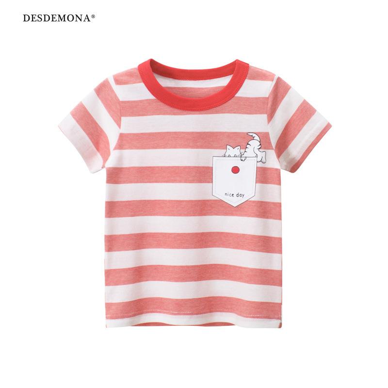 品牌童裝夏季新品2021款 時尚潮牌女童短袖T恤大條紋短袖上衣 純棉短袖