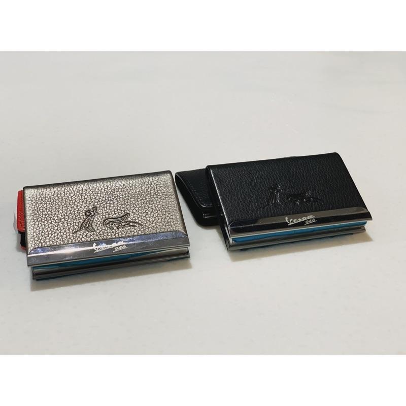 [偉兒鋼VESPA]VESPA 946 皮革 名品夾 卡夾 黑色 灰色 電鍍邊框
