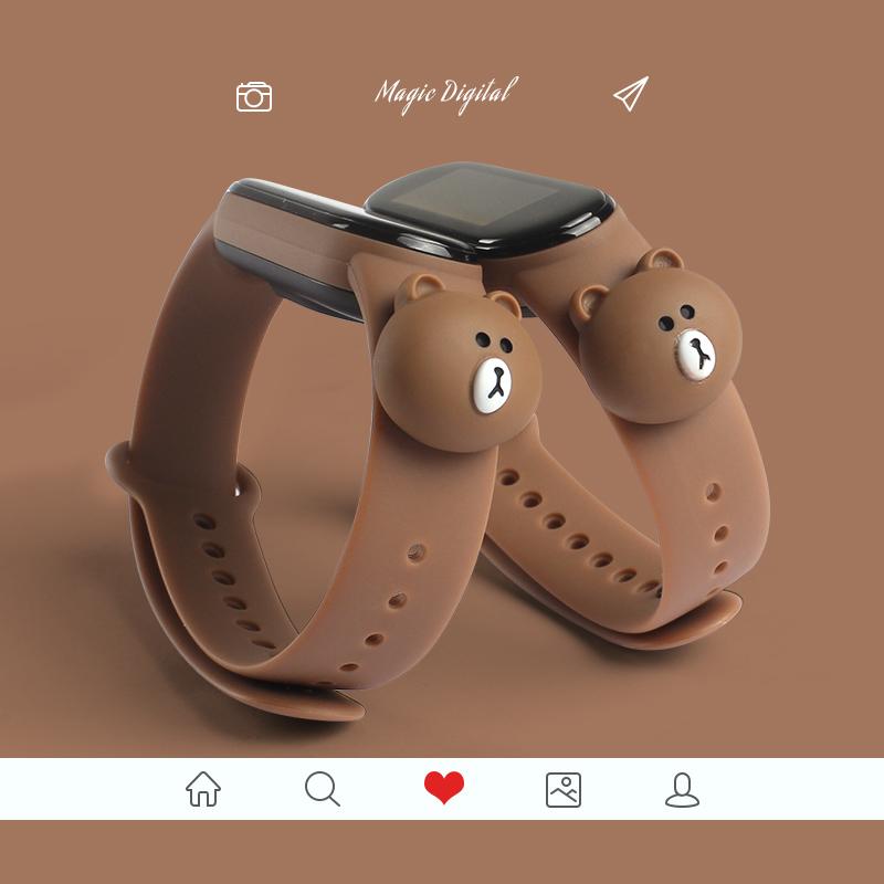 卡通公仔硅膠腕帶  小米手環5 錶帶 小米手環 4 NFC 錶帶 小米手環 3 錶帶 小米卡通替換矽膠腕帶