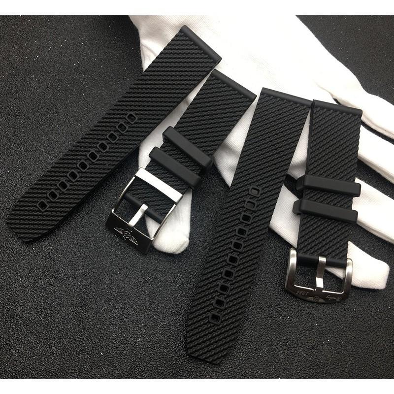 爆款熱賣24mm橡硅膠手表帶適配百年靈超級海洋文化黑色AB201012Breitling