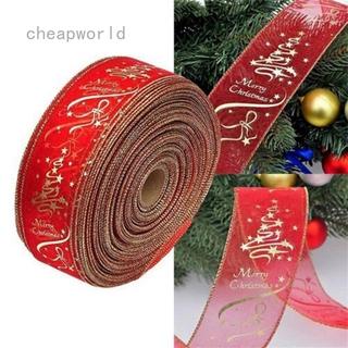 聖誕樹裝飾 6.3 * 200cm 紅金印刷裝飾絲帶