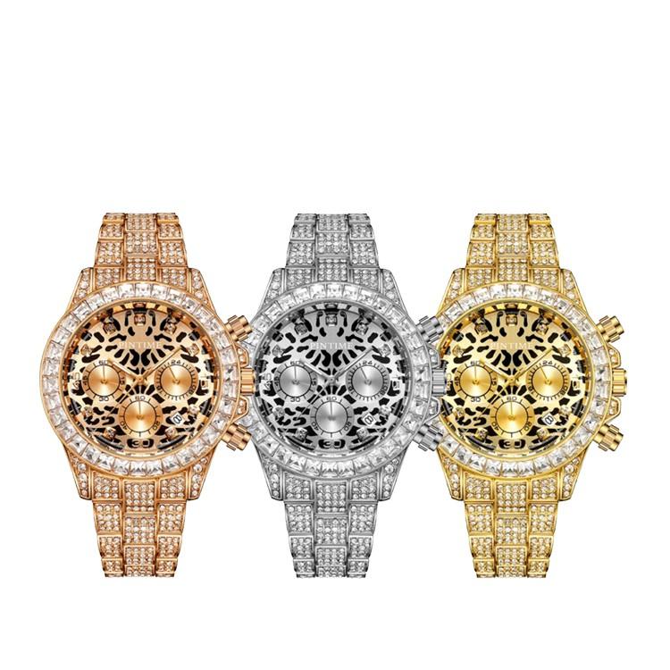 PINTIME保時 PT1558 法國皇家御用品牌滿鑽三眼豹紋手錶 喬米精品 原廠出貨