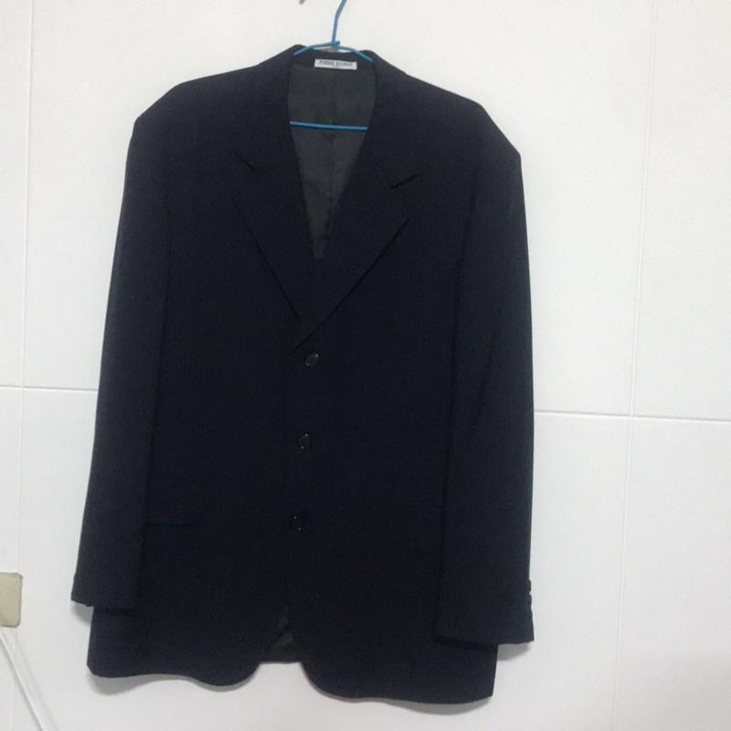 PIERRE BALMAIN 深藍黑色 素色 老闆 企業家 業務 櫃檯 紳士 型男 西裝外套 50