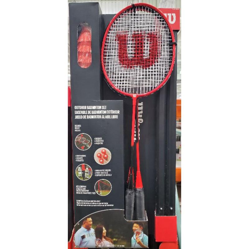 【小如的店】COSTCO好市多代購~WILSON 羽球雙打套組(內含攜帶式網架.球拍.羽球.杯架)全新 2621041