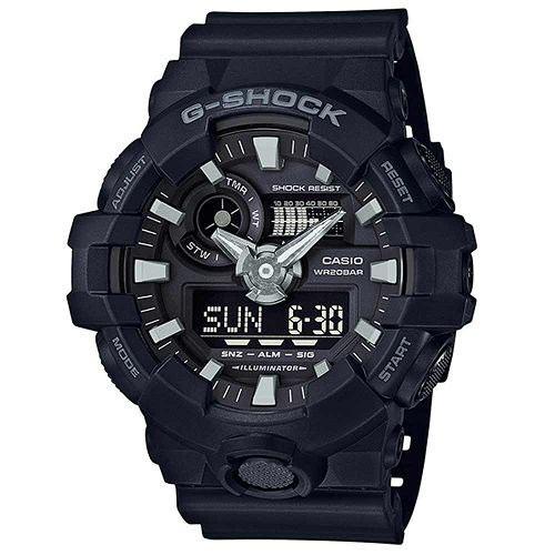 【CASIO】G-SHOCK 絕對強悍視覺搶眼運動雙顯錶(GA-700-1B)正版宏崑公司貨